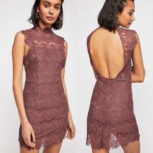 Free People Mauve Daydream Lace Bodycon Dress